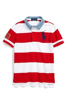 Free shipping and returns on Ralph Lauren Stripe Cotton Polo (Big Boys) at Signature  pony embroidery and a contrasting chambray collar prep up a striped ...