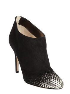 black suede snake embosed toe heel 'Mendez' booties