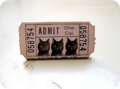Admit One Cat Brooch - Leeloo Silly Cats, Cats And Kittens, Crazy Cat Lady, Crazy Cats, Barn Art, Admit One, Cat Pin, Here Kitty Kitty, Beautiful Cats