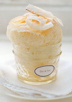coconut souffle in a jam jar