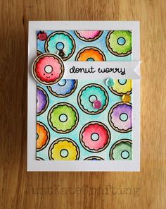 Lawn Fawn Donut Worr; repeat stamping; DI; Zig; watercolor; bright; be happy; adorable; cheeful