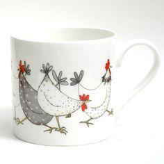 Chicken Wrap Large Balmoral Bone China Mug Pottery Painting, Ceramic Painting, Diy Painting, Ceramic Art, Chicken Art, Chicken Wraps, Painted Mugs, Hand Painted, Tassen Design