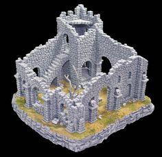 Miniature Ruined Fieldstone Tower, perfect for use in tabletop role playing games such as Dungeons and Dragons, Warhammer 40K, LOTR, etc...