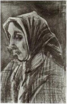 Vincent van Gogh Drawing, Pencil, black mountain chalk The Hague: March, 1883 Private collection F: 1684, JH: 351 Image Only - Van Gogh: Woman with Shawl over her Hair, Head