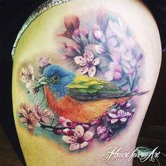 Bird and Flowers Tattoo - Sam Barber Heart for Art, Manchester