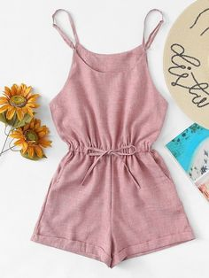 Shop Drawstring Waist Cami Jumpsuit at ROMWE, discover more fashion styles online. Crop Top Outfits, Cute Casual Outfits, Girly Outfits, Cute Summer Outfits, Stylish Outfits, Dress Outfits, Teen Fashion Outfits, Outfits For Teens, Girl Fashion