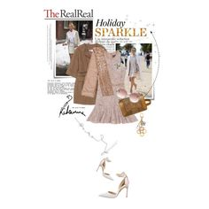 """""""Holiday Sparkle With The RealReal: Contest Entry"""" by ashley-rebecca ❤ liked on Polyvore featuring Post-It, STELLA McCARTNEY, Lanvin, Pologeorgis, Chanel, Balenciaga, Manolo Blahnik and Louis Vuitton"""