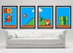 Une série d'affiches Super Mario Bros - 25 idées cadeaux pour rendre un geek heureux !