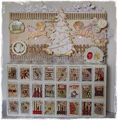 Recycled Advent calendar using Magnolia stamps and Doohickey dies from http://www.magnoliastamps.us/ #cards #crafts