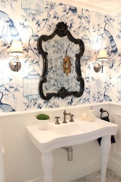 and white Powder room, White ceramic console, Oil rubbed bronze tapware and sconces, marble hexagon tiles, Schumacher wallpaper. Small Bathroom Wallpaper, Powder Room Wallpaper, White Bathroom, Bathroom Sinks, Bathroom Ideas, Shower Ideas, Bathroom Images, Bathroom Designs, Black Wallpaper