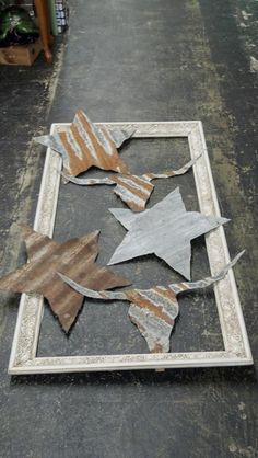 cutouts from corrugated metal per Rags & Lace Vintage via FB