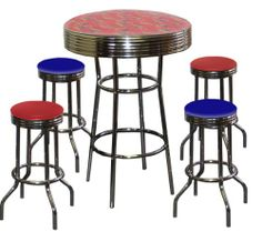 4e138e5b312a Spiderman Themed 5 Piece Bar Table Set! Glass Top Table with 2 Red Vinyl  Chrome