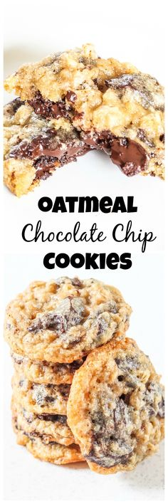 "I LOVE oatmeal chocolate chip cookies! I wish more places sold them! -- ""Oatmeal Chocolate Chip Cookies - The perfect dunking cookie. Oreo Dessert, Cookie Desserts, Just Desserts, Cookie Recipes, Delicious Desserts, Dessert Recipes, Yummy Food, Think Food, Oatmeal Chocolate Chip Cookies"
