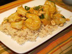 A recipe for Light Lemon Curry Shrimp made with plain yogurt, soy sauce, lemon peel, vegetable oil, curry powder, medium shrimp, green