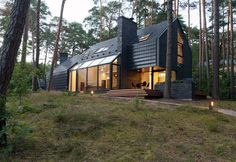 Modern Forest House Dedicated to Blues Music: Black House Blues Read more: http://freshome.com/modern-forest-house-dedicated-to-blues-music-black-house-blues/#ixzz3XruUVaoS Follow us: @freshome on Twitter | freshome on Facebook