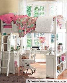 How adorable is this bed set for a little girls room!!!  Bed, vanity and desk wrapped up in one adorable package.