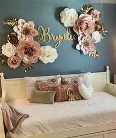 Baby Nursery Name Tag - Baby Nursery - Room . - Baby nursery name tag – baby nursery – tag - Paper Flower Wall, Paper Flowers Wall Decor, Diy Flowers, Flower Room Decor, Big Paper Flowers, Paper Flower Backdrop Wedding, Paper Roses, Big Girl Rooms, Name Signs