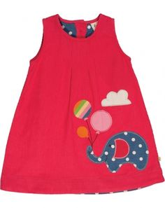 Cord Pinafore Dress - Elephant