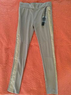 Poof apparel NWT Beige Cooton Faux Leather Contrast Trim Leggings Large #Poof #Leggings