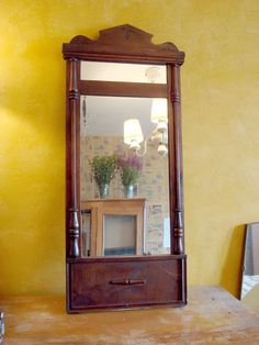 antique mirror carved frame crown top / soviet by OldMoscowVintage