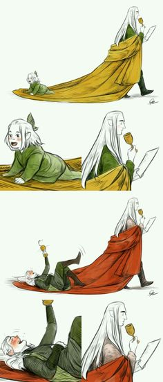 Legolas always loved riding the end of his father's robes as a little elfing~ Thranduil never minded and always felt quite amused by it… …even when Legolas was older and drunk. -How alcoholic are elf drinks if LEGOLAS got drunk? Gandalf, Legolas Und Thranduil, Legolas Father, Legolas Funny, Aragorn, Quotes Sherlock, Sherlock Bbc, Thorin Oakenshield, Bilbo Baggins