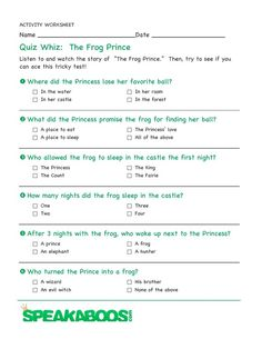 Quiz Whiz: The Frog Prince | Speakaboos #Worksheets #quiz #education #kids #frogprince