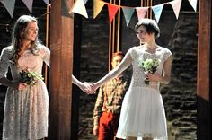 Pippa Nixon as Rosalind and Joanna Horton as Celia in As You Like It.