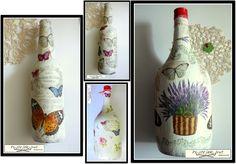 Proste jak drut: Decoupage na butelkach - tutorial/How to decoupage glass bottles