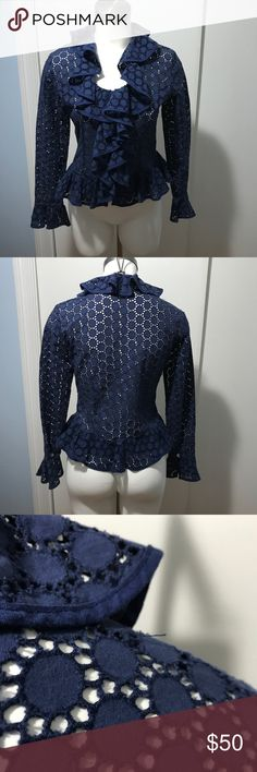 Anne Fontaine Lace Eyelet blue zip up ruffle coat Beautiful ruffle Zip up coat, blazer, jacket, Blouse. It is semi sheer so needs at least a cami underneath. It is a size 42 which fits like a medium or an 8. Good pre-owned condition with a few loose threads. Anne Fontaine Jackets & Coats Blazers