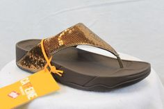 FitFlop Fit Flops Electra Sequin Bronze Comfort MSRP $80 Thongs 6 7 8 9 10 NEW #FitFlop #FlipFlops