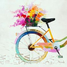 Bicycle basket on canvas
