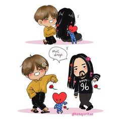 aww chibi taehyung + tata + steve aoki credits to the creator of this adorable fan art Steve Aoki, Bts Taehyung, Bts Bangtan Boy, K Pop, Bts Memes, Jikook, Bts Kim, Kpop Drawings, Bts Chibi