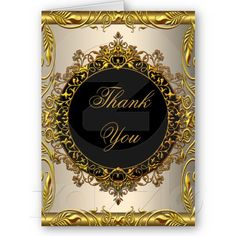Thank You Elegant Cream Beige Gold Black Card