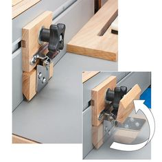 A flip-up stop block is a great addition to any router table or table saw miter fence. The bottom block just flips up out of the way when not in use. It gives you the flexibility of leaving the block attached to the fence when it's not in use. And that can save valuable set-up time.