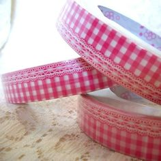 Pink Gingham and Lace Deco Tape