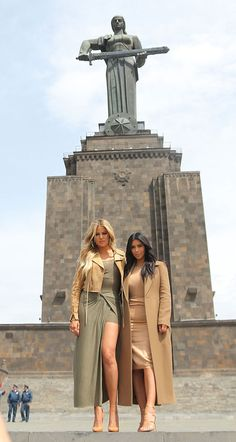 Fabulous Looks Of The Day: April 9th, 2015 - Khloe Kardashian and Kim Kardashian West posing in Armenia