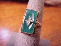 Antique Victorian 10K Gold Diamond Jade & Rose Gold Ring