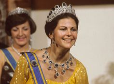 Queen Silvia wore this tiara for the first time for the first dinner during the Swedish State Visit to the Netherlands in October 1976.