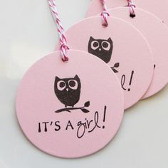It's a Girl Tags Baby Owl - Set of 8 - Custom Colors Available - Owl Baby Shower Favor Tags Girl Baby Shower