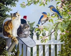Songbirds and Friends - cats, pstbox, fence, painting, tree, artwork