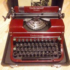 Fire Engine Red Underwood Champion Typewriter and Case Working Typewriter, Portable Typewriter, Typewriter For Sale, Vintage Suitcases, Vintage Luggage, Vintage Typewriters, Tv Writing, Branding, Mosaics