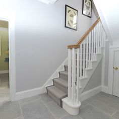Image score for cornforth white wardrobe with strong white pedestal Grey And White Hallway, White Doors, Hallway Paint, Tiled Hallway, Hallway Carpet Runners, Carpet Stairs, Stairs With Grey Carpet, Stair Walls, Stair Runners