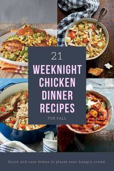 21 Weeknight Chicken Dinner Recipes Perfect for Fall Beef Recipes For Dinner, Delicious Dinner Recipes, Entree Recipes, Lunch Recipes, Fall Recipes, Meat Recipes, Chicken Recipes, Yummy Food, Tasty