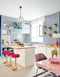 WOW! This kitchen with patterned walls is amazing!