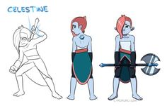 itscarororo:  My gemsona! She wields a battle axe and she's based on the mineral celestine: