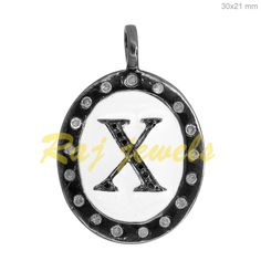 Natural Pave Diamond Initial Alphabet X Charm Pendant Enamel 925 Silver Jewelry Initial Pendant, Diamond Jewelry, Silver Jewelry, Silver Enamel, Sterling Silver, 925 Silver, Initials, Jewelry Watches, Handmade Jewelry