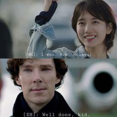 sherlock & myeongsuk after she wins a race against lestrade.  [ suzy as myeongsuk ]