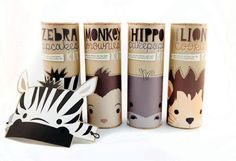 Sustainable package design for Sassafras products: Zebra Cupcakes, Monkey Brownies, Hippo Cakepops, and Lion Cookies