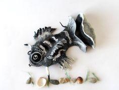 Felt fish purse fanny pack Grey fish  cosmetic purse by galafilc