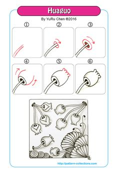 Drawing Tutorial Flower Step By Step Tangle Patterns Ideas Zentangle Drawings, Doodles Zentangles, Doodle Drawings, Doodle Art, Doodle Patterns, Zentangle Patterns, Flower Patterns, Tangled Flower, Zantangle Art